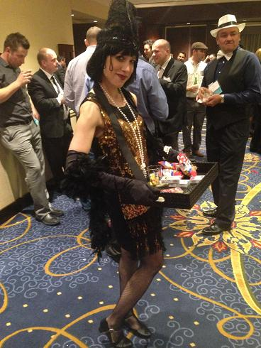 Gatsby Girl Flapper for 1920's thme parties and corporate events. professional actress-singer-dancer performs Charleston dance instruction, sings 1920s jazz songs, includes candy tray, Candy cigarette Cigar tray