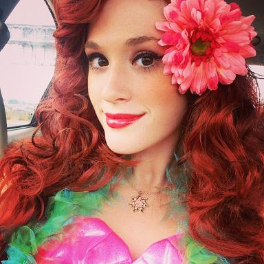 Princess Bridgette- professinal musical theater actresas and classically trained singer poses as the Little Mermaid