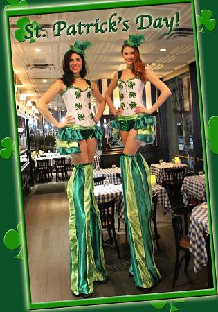 Holiday Stilt Walkers for Irish St Patrick's Day parties, corporate events, and St Patrick's Day Parades in New Jersey