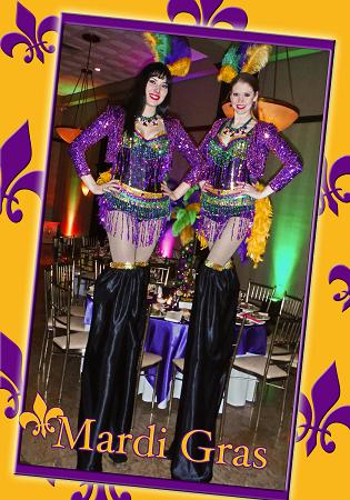 Holiday Stilt Wlakers and Jugglers for Mardi Gras parties, corporate events, and parades in New Jersey
