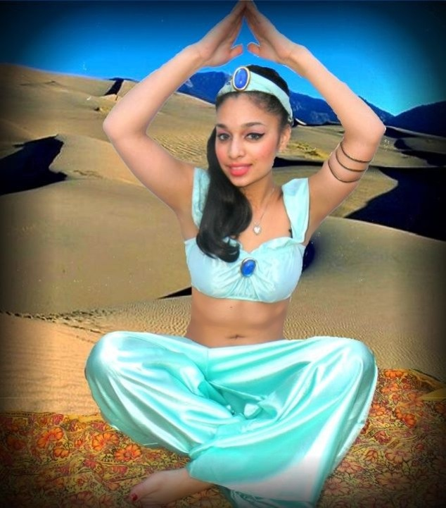 Legend Arabian Princess character performer for children's birthday parties in New Jersey, magic carpet, legend storytelling scroll, make-a-wish magic genie lamp, magic show, puppet, souvenir tiara, child's harem costume, animal balloons, tattoos and face painting