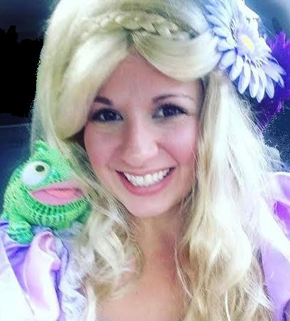 Princess Haley is a professinal musical theater performer, actress, and singer posing as tower princess Rapunzel for children's birthday parties in New Jersey