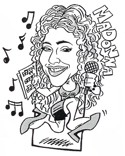 Professional caricature artist for private parties and corporate events in New Jersey, cartoon likenesses of celebrties, pop stars, and your party guests