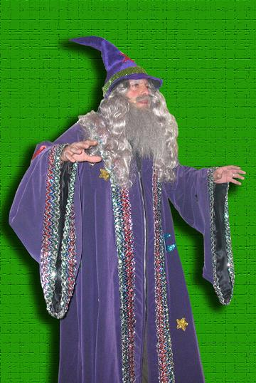 High end stage performer and actor poses as Wizard Prof BrambleThorne, variety magician show fashioned after harry potter theme. NJ Wizard Magician