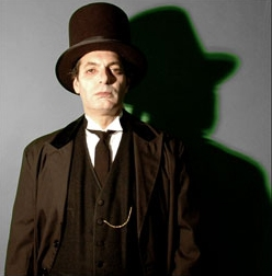 "Edgar Allen Poe professional storyteller, voice artist, theatrical stage costume and makeup, dramatic reading of Poe's horror tale ""The Raven"" and other ghost stories, NJ Halloween entertainer, meet and greet at party door, the Undertaker"