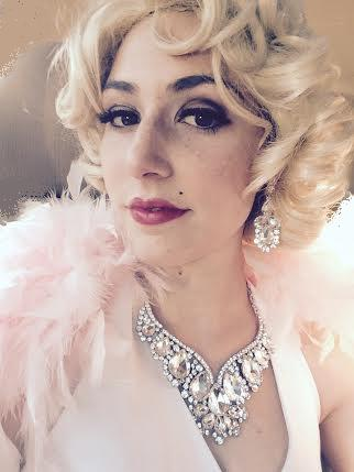 Actress singer Kerry Ann poses as Marilyn Monroe, celebrity impersonatore singing telegram with souvenirs, autograph photo, Marilyn M show includes singing several Marilyn songs and short roast of recipient basedonpersoanl information
