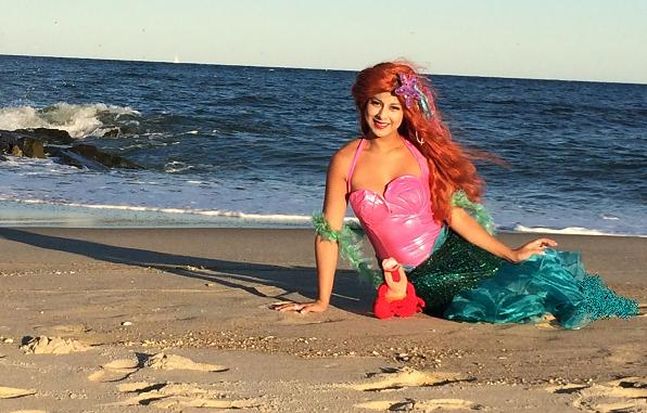 Princess Loren poses as the Little Mermaid for children's birthday parties in New Jersey