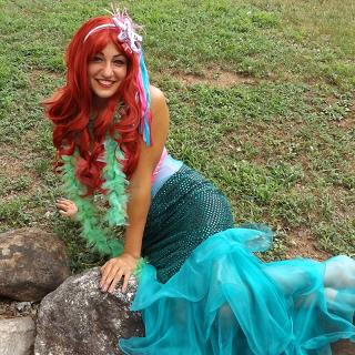 Princess Lucy- professional actress, singer and dancer poses as the fairy tale Little Mermaid character for childrn's birthday parties in New Jersey, sings princess song as well as original birthday song with your child's name, interactive musical games, singing, dancing, pretned underwater treasure hunt, puppet, magic show, souvenir tiara, child's mermaid costume, pose for photos, balloon art, with optional princess make up-tattoos-hand or cheek art face painting