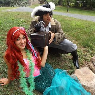Little Mermaid or Princess & Pirate perform Pirate and Princess show for birthday parties in New Jersey, Princess & Pirate shows great for combo birthday boy and girl parties