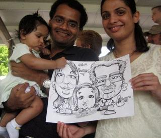 Caricaturist for family parties, group cartoon drawing of your family and party guests, Caricature Artist in New Jersey