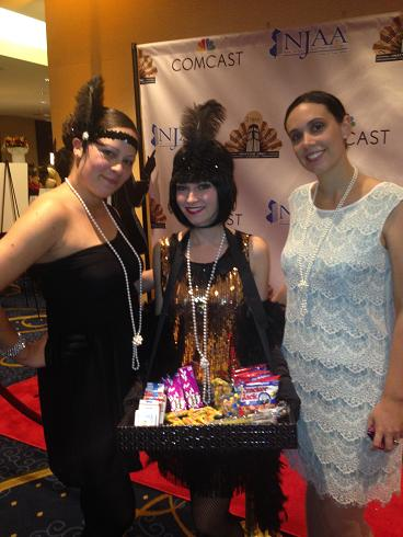 1920's theme party or corporate event hire 20's Gatsby Girls to meet and gree, mingle, and stroll in character, includes vintage candy tray