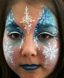 Frozen Ice Princess theme party, professional actress, singer, and award-winning face painter applies frozenprincess theme face painting, tattoos, stickers, princess music, snow man puppet, frozen story time
