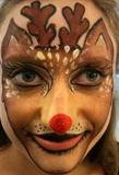 Christmas holiday face painting artist, Xmas theme designs such as Reindeer, Santa Claus, Snow Man, Snowflakes, Winter Wonderland