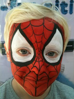 Kid's Super Hero full face painting, face painting for superhero birthday parties