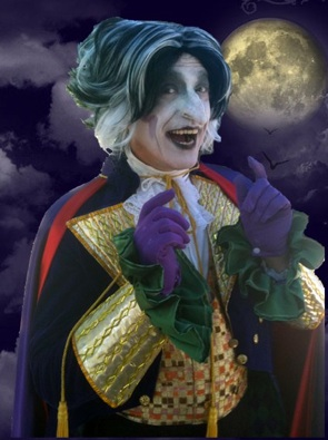 Halloween party entertainment in New Jersey- professional charactor actors, voice artists, storytellers, puppeteers perform Halloween variety entertainment show in theatrical makeup and costumes, Halloween entertainers for all ages