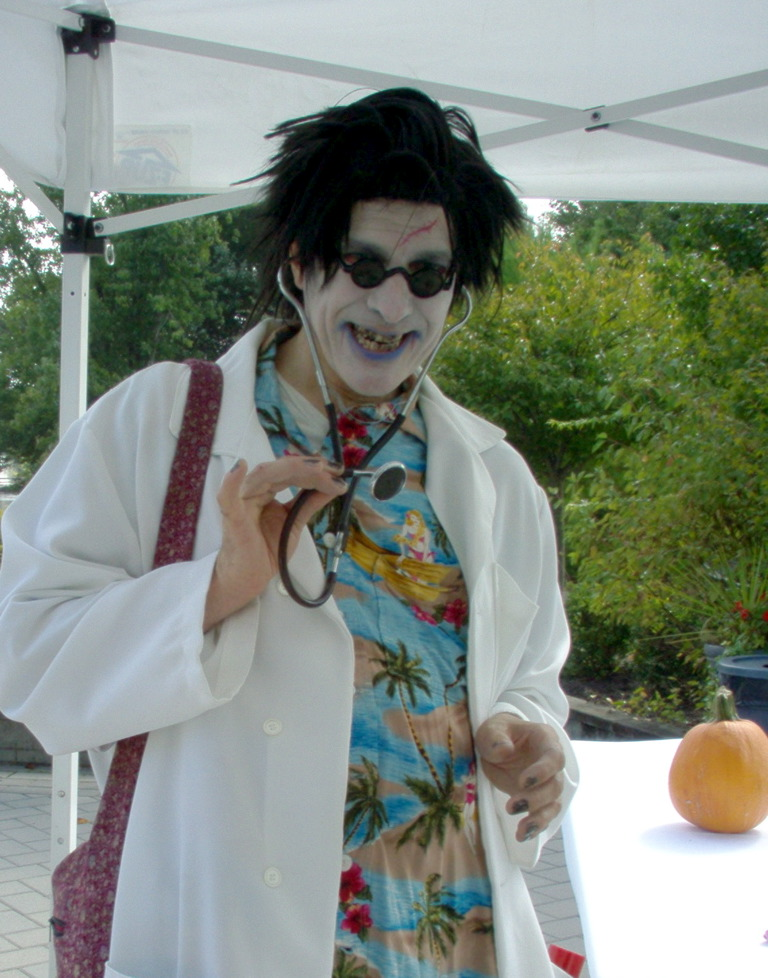 Doctor Shock variety performer, Halloween character actor, comedy magic, juggling, fire eating, strolling close up magic or stage show for all ages