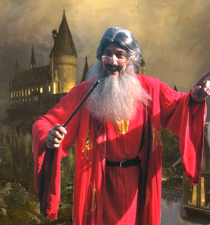 Professor Drusilicus Kettlebum- Harry Potter themed party wizard magician show, comedy magic show, juggles battle axes fire and swords, performs spellbinding sleight of hand close up magic for all ages, fantasy storyteller, stage show or strolling character for corporate event