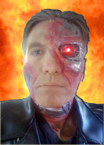 Terminator character actor, professional stage actor with professional theatrical makeup and prosthetics, comedy, magic, juggling, freeze mime meet and greet at door, Halloween entertainment NJ