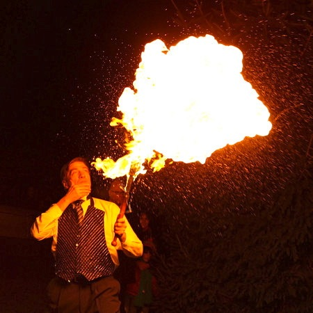 Fire Blower variety entertainer for any occasion party corporate event or holiday show, Fire juggling entertainment for Purim Party, Barmitzvah, 4th of July, Diwali celebration in New Jersey, also Fire Spinners             (click on photo for more Fire Spinners)