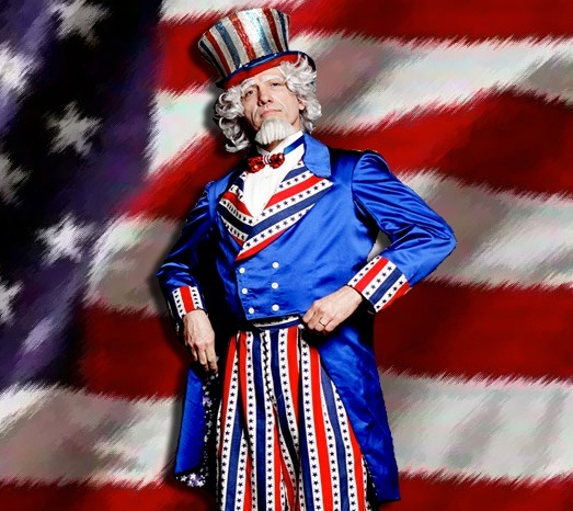 Uncle Sam Variety Entertainer, Juggler, Stilt Walker, for 4th of July holiday parties and events and holiday 4th of July picnics, festival, parades, grand openings, promotions, corporate events, stage performances, Uncle Sam Stilt Walker in New Jersey