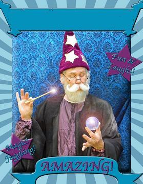 Hamlin the Wizard performs Harry Potter thememd show with wizardry magic show, defense against the dark arts, juggling, balancing act, and balloon sculptures