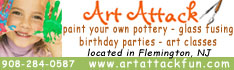 Art Attack in Flemington NJ, a retail paint your own pottery and glass fusing studio, party place, birthday party facility in central New Jersey, Hunterdon County