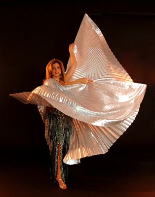 Specialty Wings of Isis veil, dynamic Belly Dance show entrance with Egyptian Wings of Isis veil specialty