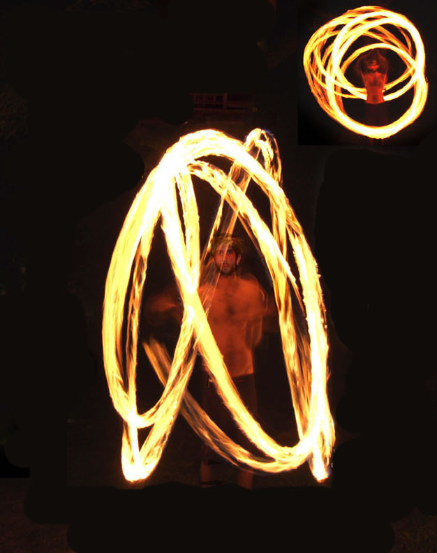 Hire professional Fire Poi Spinner, Flame Spinner in NJ, spectacular fire spinning patterns choreographed to music, for hawaiian luau parties, corporate events, organizations, festivals, stage shows, Fire Poi Dancer, NJ Fire Dancer, Fire Spinner New Jersey, colored Meteor Light Globe Spinner       (click on photo for Fire Jugglers & Variety Entertainers)