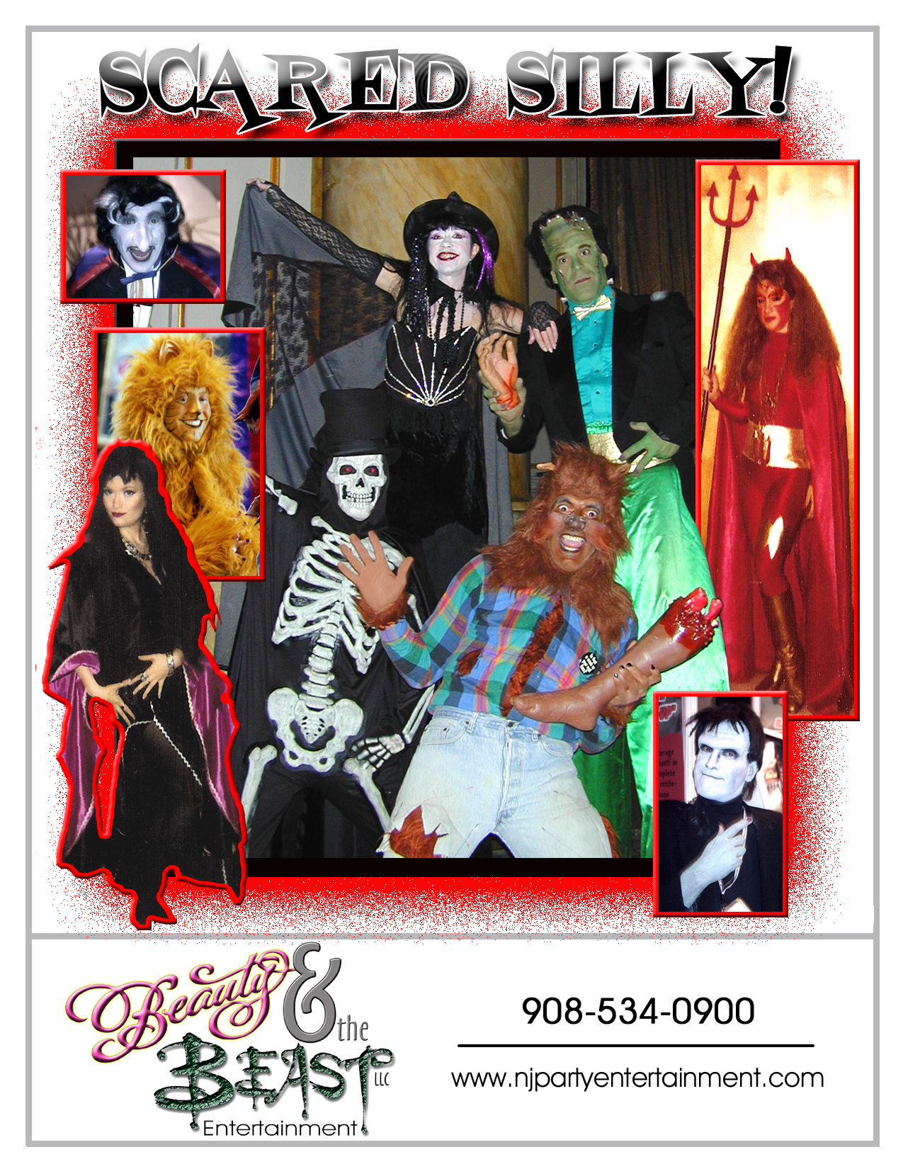 NJ Halloween Entertainment, the best Halloween party entertainers for kids, teens and adults, general audience shows, scary magic shows, costumed characters, comedy variety entertainers for halloween parties in New Jersey, Frankenstein character entertainer, Count Dracula Schnazolla entertainer, Phantom of the Opera somger actor, Pirate Magician, Star Trek Mr Spock character, Wolfman costumed character, Halloween Magicians NJ, Wolf Man, and much more