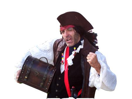 Pirate Jon- professional stage character actor, magician and kid's entertainer performs high-end Pirate Magician show with comedy, magic, juggling, ventriloquism, and pirate balloons