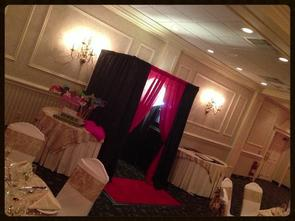 Photo Booth for private parties and corporate events in New Jersey includes helpful attendent, unliomited photos, silly party props, autograph scrapbook for recipient, monogrammed photo prints, and lots of fun