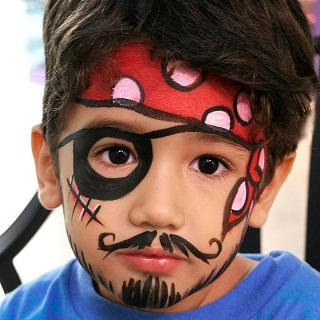Pirate Party face painting, glitter or henna tattoos with sample book, professional Face Painting Artist applies party or holiday theme face painting designs for chidren's parties in New Jersey