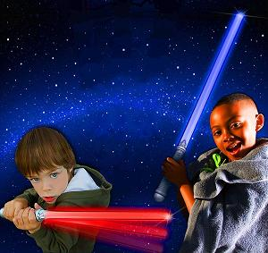 Space Wars birthday party entertainment stars a professional character actor in costume, star wars theme party includes balloon sabers, balloon blasters, a magic show, galaxy treausre map and souvenirs, star stickers